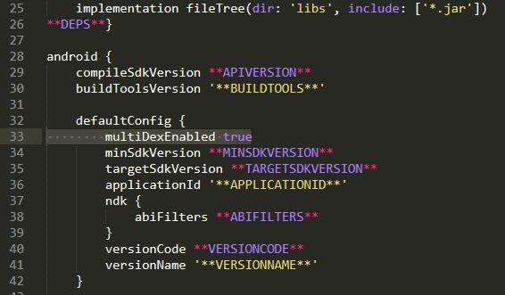 Добавленный параметр multiDexEnabled в mainTemplate.gradle
