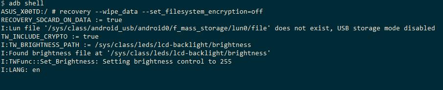 скриншот с результатом выполнения команды для сброса шифрования в командной строке