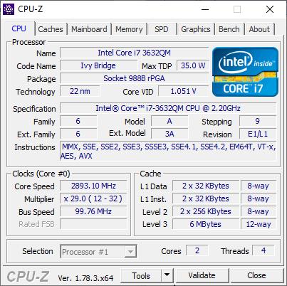 скриншот с данными о процессоре i7-3632qm в CPU-Z, где показывается 2 ядра и 4 поток, как на старом процессоре