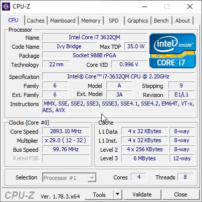 скриншот с данными о процессоре i7-3632qm в CPU-Z после перезагрузки