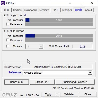 скриншот с результатом бенчмарка CPU-Z на i5-3230m - 1332 и 2841