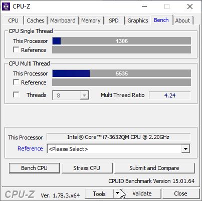 скриншот с результатом бенчмарка CPU-Z на i7-3632qm - 1306 и 5535