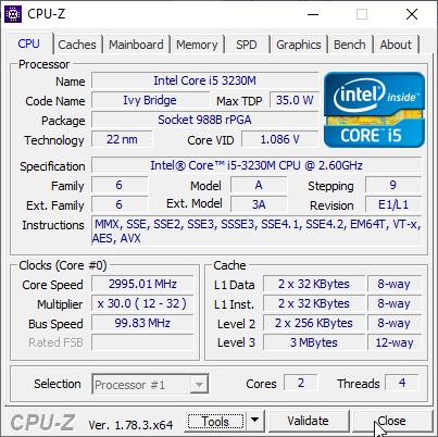 Скриншот старого процессора i5-3230m в CPU-Z